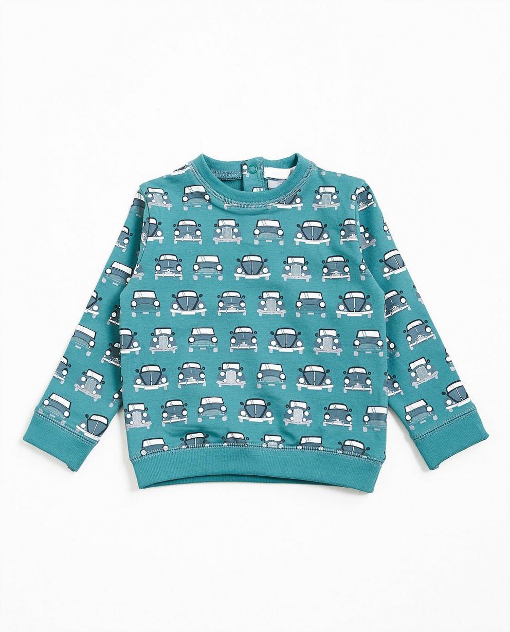 Sweater met autoprint - in jadegroen, van biokatoen - JBC